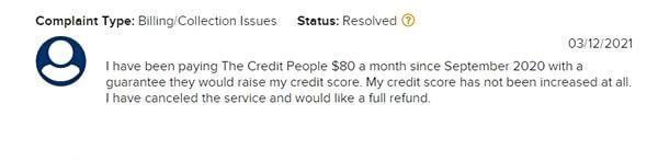 the credit people complaints
